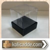 Asetat Kapaklı Siyah Kutu 5x5x6 cm.