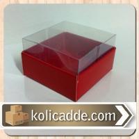 Kırmızı Asetat Kutu 6x6x2,5 cm.