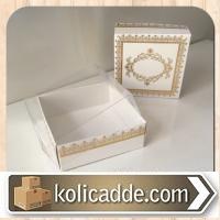 Asetat Kapaklı Beyaza Gold Desenli Karton Kutu 8x8x3 cm