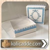 Asetat Kapaklı Beyaza Mavi Desenli Kutu 8x8x3 cm