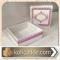 Asetat Kapaklı Pembe Desenli Karton Kutu 8x8x3 cm