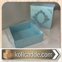 Gümüş Desenli Kutu Asetat Kapak  8x8x3 cm