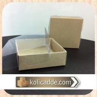 Asetat Kapaklı Kutu Altı Kraft 8x8x5 cm