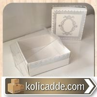 Asetat Kapaklı Desenli Beyaz Karton Kutu 8x8x3 cm