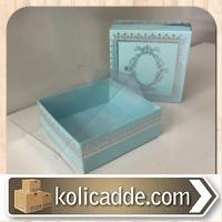 Asetat Kapaklı Gümüş Rengi Desenli Kutu 8x8x3 cm