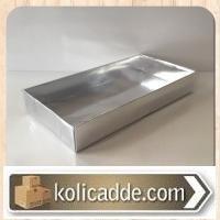 Asetat Kapaklı Gümüş Renkli Kutu 20x10x3 cm