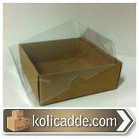 Kraft Kutu Şeffaf Kapaklı 9x9x3 cm