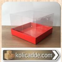 Asetat Kapaklı Kırmızı Karton Kutu 15x15x10cm