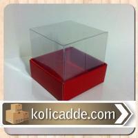 Kırmızı Karton Kutu Üstü Asetat Kapak 10x10x6 cm