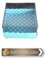 Mavi Puanlı Asetat Kapaklı Kutu 8x8x3 cm