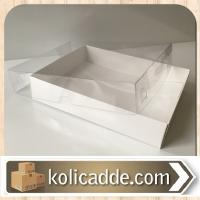 Beyaz Karton Kutu Asetat Kapak 12x15x3 cm.