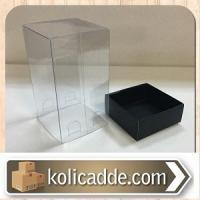 Asetat Kapaklı Siyah Karton Kutu 5x5x9 cm.