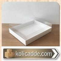 Asetat Kapaklı Beyaz Karton Kutu 20x25x5 cm