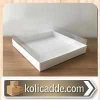 Asetat Kapaklı Altı Beyaz Karton Kutu 25x25x5 cm
