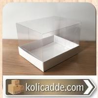 Beyaz Renk Alt Karton Kutulu Asetat Kutu 12x15x10