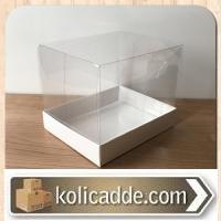 Beyaz Renk Alt Karton Kutulu Asetat Kutu 12x15x12 cm