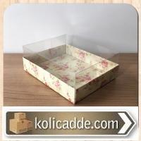Gül Desenli Sarı Karton Kutulu Asetat Kutu 12x15x5