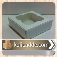 Şeffaf Pencereli Beyaz Kutu 8x8x3 cm