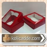 Asetat Pencereli Kırmızı Karton Kutu 8x8x3 cm