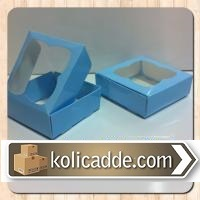 Asetat Pencereli Mavi Kutu 9x9x3 cm