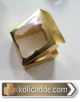 Asetat Pencereli Gold Kutu 9x9x3 cm