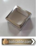 Asetat Pencereli Gümüş Kutu 9x9x3 cm