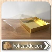Asetat Kapaklı Altı Gold Metalize Karton kutu 15x15x3 cm