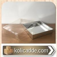 Asetat Kapaklı Altı Gümüş Metalize Karton kutu 15x15x3 cm