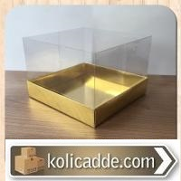 Asetat Kapaklı Gold Karton Kutu 15x15x10cm