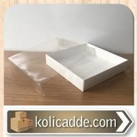 Asetat Kapaklı Altı Beyaz Karton kutu 15x15x3 cm