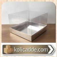 Asetat Kapaklı Altı Gümüş Karton Kutu 15x15x10cm