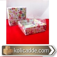 Çiçekli Karton Kutu Asetat Kapaklı 8x8x3 cm.