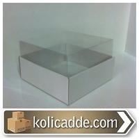 Beyaz Karton Asetatlı Kutu 8x8x5 cm.