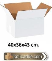 Çift Oluklu Beyaz Karton Koli 40x36x43 cm.
