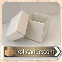 Beyaz Kapaklı Karton Kutu 5x5x5 cm