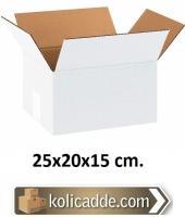Tek Oluklu Beyaz Karton Koli 25x20x15 cm.