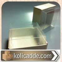Alt Beyaz Karton Kutu Üst Asetat Kapaklı 7x7x7 cm.