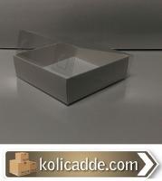 Beyaz Karton Kutu Üstü Asetat Kapak 10x10x6 cm