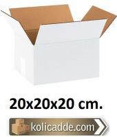 Çift Oluklu Beyaz Koli 20x20x20 cm.