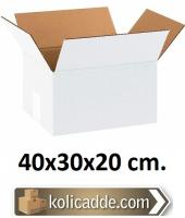 Beyaz Karton Mukavva Koli 40x30x20 cm.