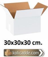 Beyaz Çift Oluklu Koli 30x30x30 cm.