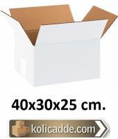 Çift Oluklu Beyaz Koli 40x30x25 cm.