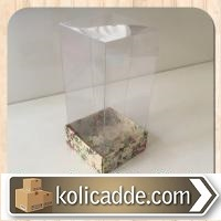 Asetat Kapaklı Çiçekli Karton Kutu 5x5x9 cm
