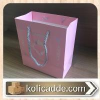Gümüş Simli İpli Pembe Karton Çanta 15,5x17x8 cm