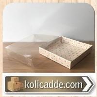 Asetat Kapaklı Desenli Pembe Kutu 20x20x3 cm