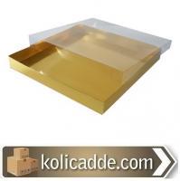 Asetat Kapaklı Gold Kutu 35x35x4 cm.