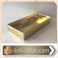 Asetat Kapaklı Gold Dekoratif Kutu 20x10x3 cm