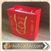 Gold Desenli Kırmızı Karton Çanta 15,5x17x8 cm