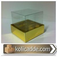 Gold Metalize Kutu Asetat Kapak 6x6x2,5 cm