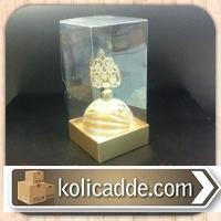 Asetat Kapaklı Altın Rengi Karton Kutu 8x8x16 cm.